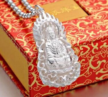 Cau tai phat quan am Large silver guanyin men 925 silver guanyin pendant silver plated male pendant