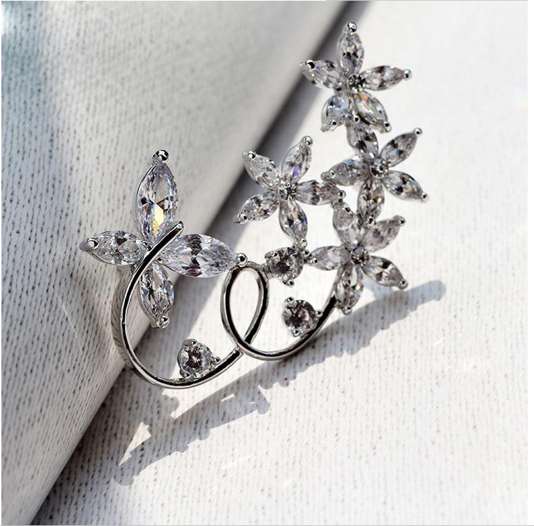 Phụ kiện thời trang cao cấp, trâm cài dạng vòm Ziricon thiết kế hoa 5 cánh