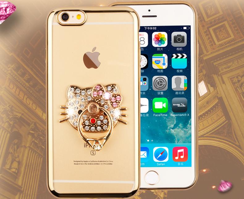 iPhone6 phone shell TPU plating diamond ring diamond KT cat perfume bottle holder ring Phone Case