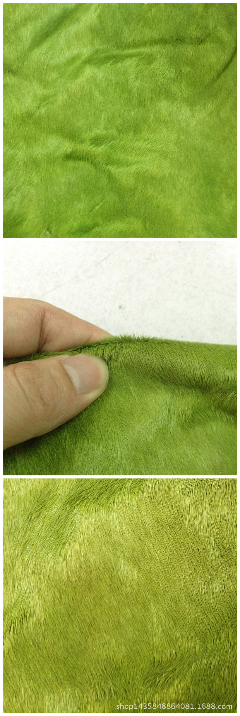 Pima real fur material with the first layer of fabric fruit green hair horsehide