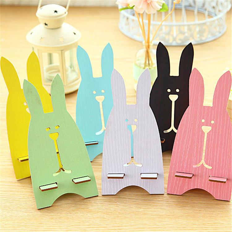 Creative DIY cute bunny wooden phone holder universal phone holder bracket lazy phone can be customi