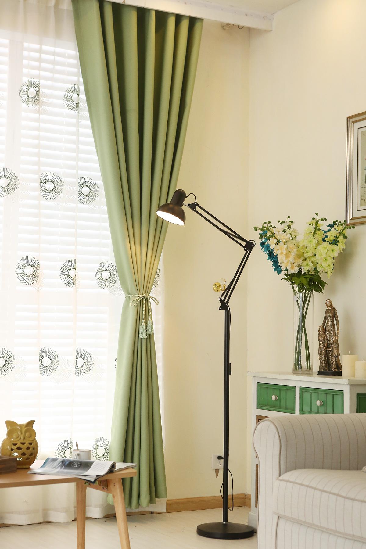 Rèm cửa nhung cotton màu tím, đơn giản, hiện đại, dày dặn từ thành phố Buke Bridge Textile