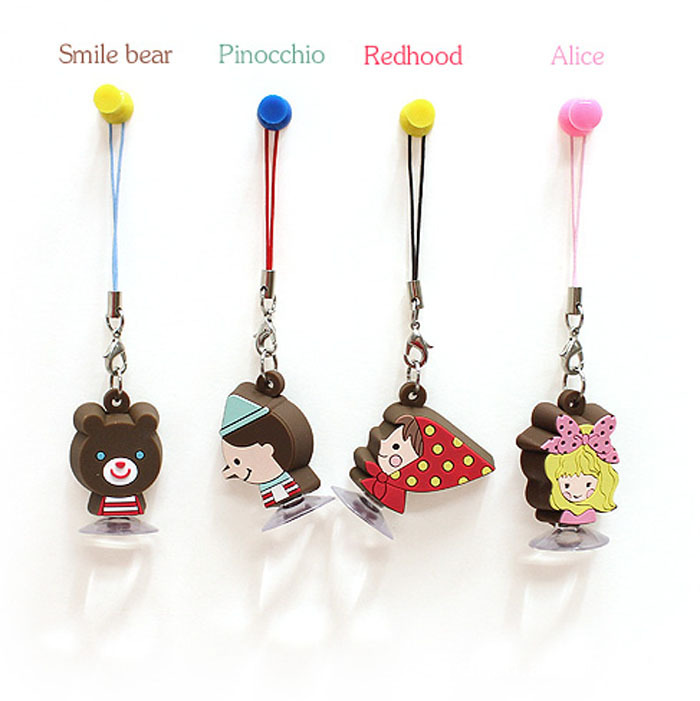 Japan and South Korea cartoon sucker suction cup bracket bracket pendant fashion phone dust plug pho