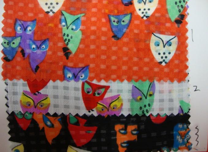 Vải voan họa tiết cú mèo dùng cho trang phục hè