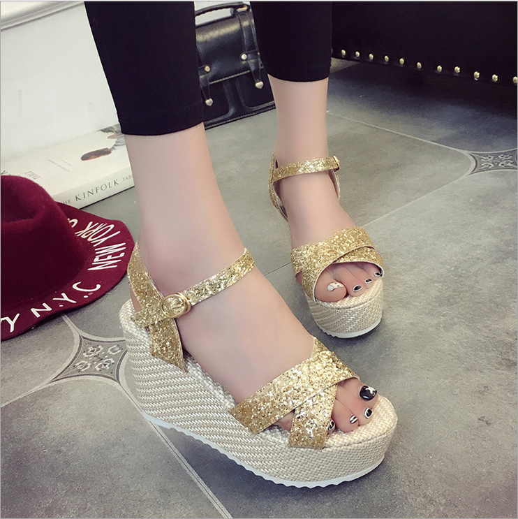 2016 Bohemian stripe wedge bottom thick sweet summer sandals female high wind with sequins 凉 fashion