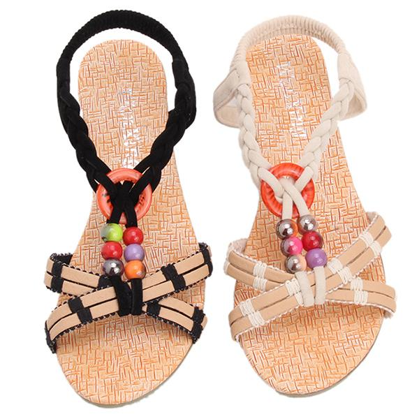 LALANG Beach Bohemia Sandals Colorful Beads Flats Flip Flops Shoes Black