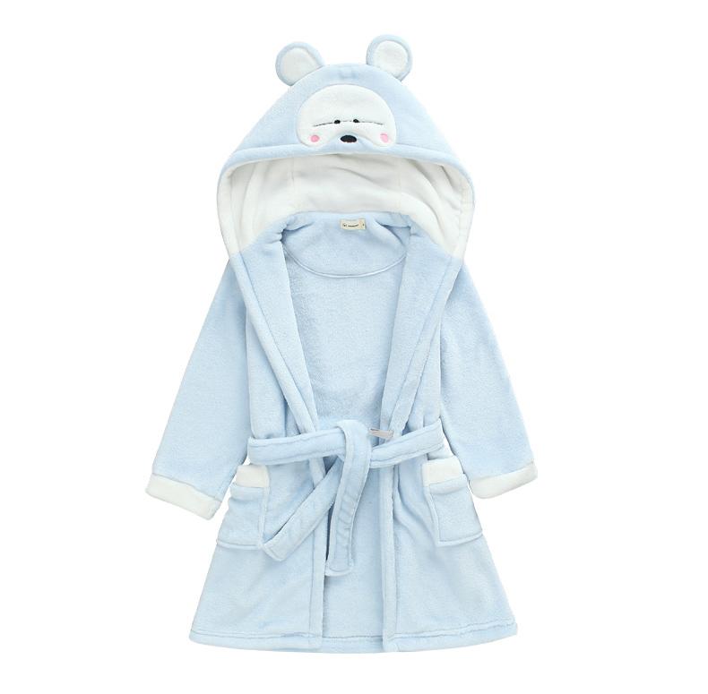 Áo choàng tắm xanh nước biển cho trẻ em hình con vật