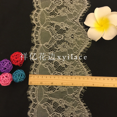 đai dệt Black and white embroidered lace shelf nylon fabric ribbon width 15cm personalized fashion c