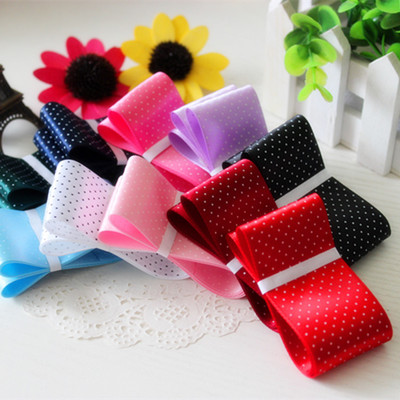 đai dệt  The new 38mm diy ribbon Polka Dot Ribbon sided polyester with a thin little bow hair jewel