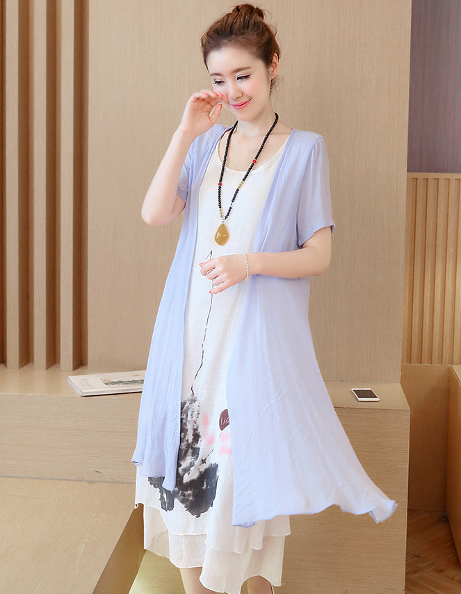 [Good quality] new literary trend cotton two-piece dress big yards long section of the summer suit