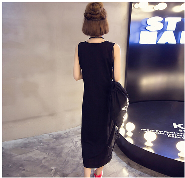 2016 summer new Korean fashion Slim thin five-pointed star round neck sleeveless vest dress long sec