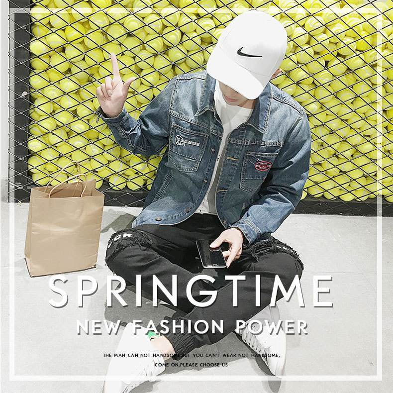 Men's spring jacket denim jacket printing large size hole jeans embroidery factory direct men's ja