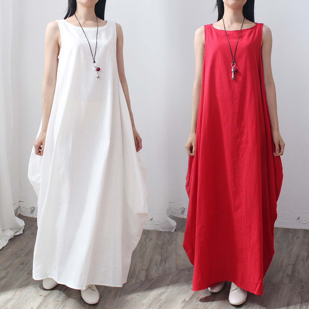2016 spring and summer theatrical cotton linen dress sleeveless vest skirt dress skirt bottoming fem