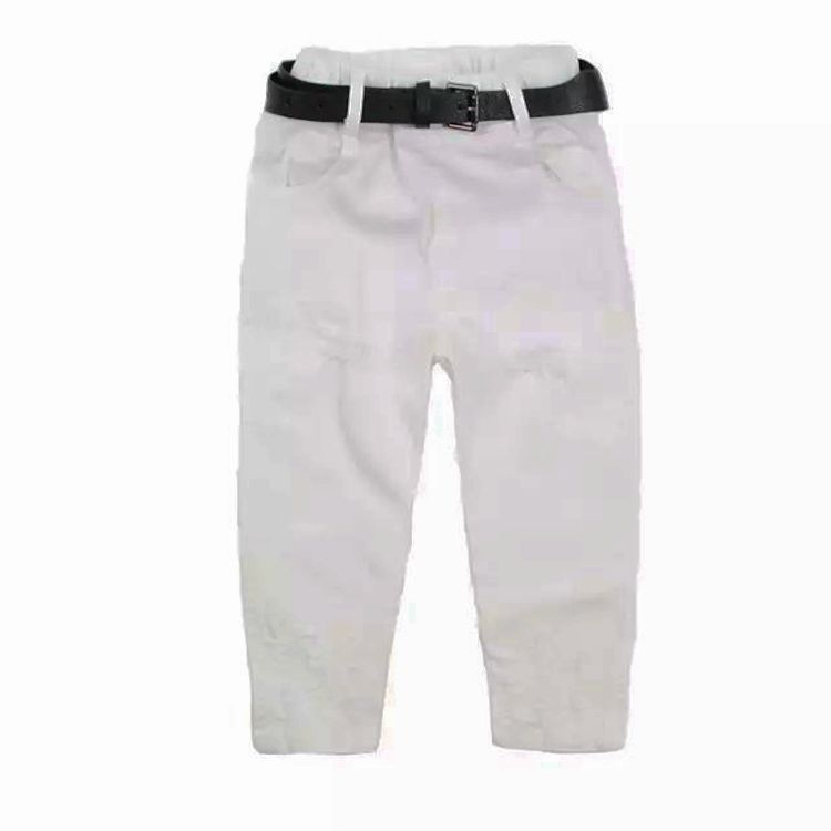 Korean children's clothing wholesale spring and autumn paragraph boys casual pants belt solid color