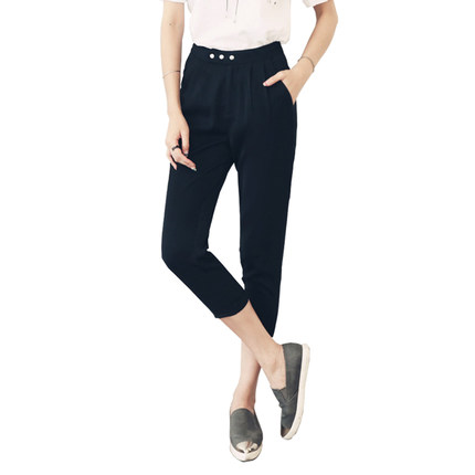 Korean homes have clothes Korean Women 2016 summer new women significantly thin black slacks feet NF