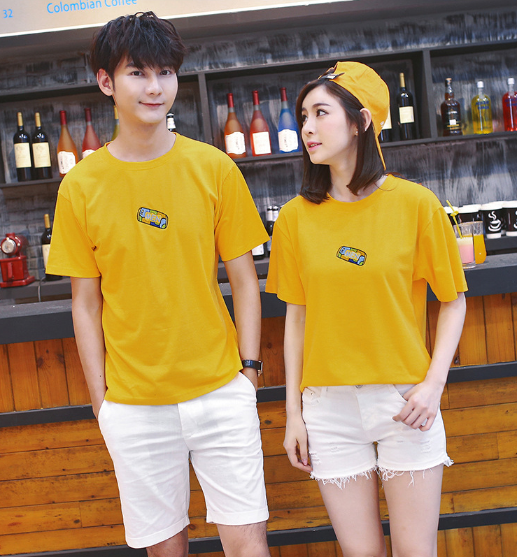 2016 summer Korean version of the new short-sleeved T-shirt lovers big yards loose suit class servic