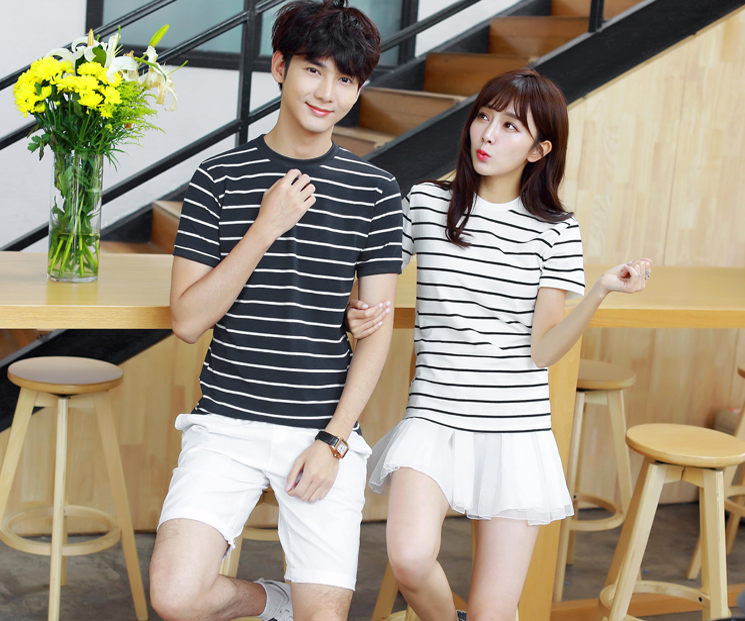 Sign 2016 summer new Korean short-sleeved striped t-shirt lovers beach boys and girls Class Suit