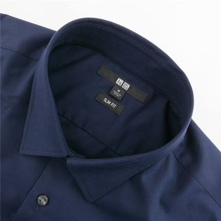 Áo sơ mi    Men's Slim worsted stretch poplin shirt (long sleeves) 169 190 UNIQLO
