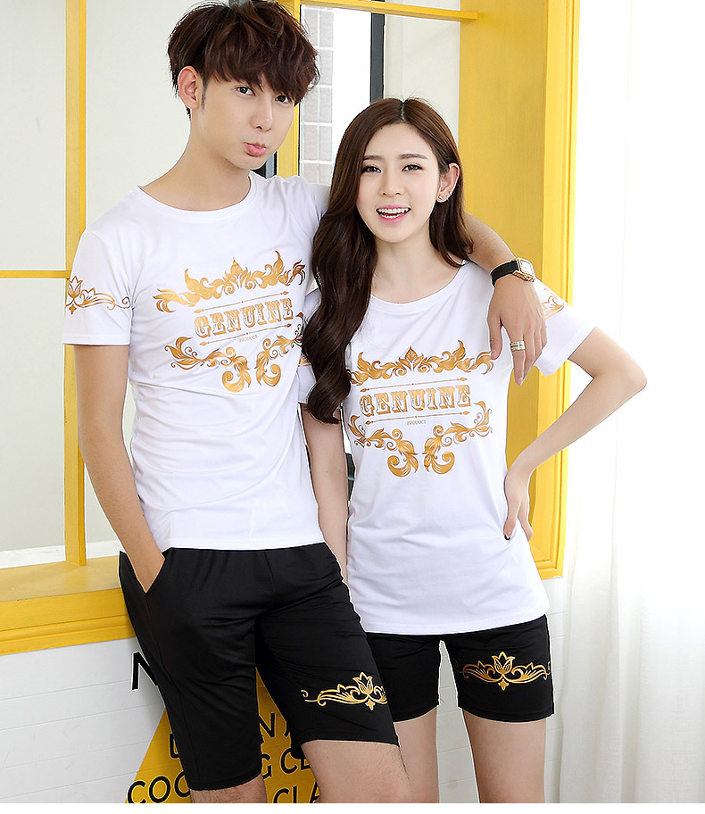 2016 summer lovers Korean version of the new men and women casual short-sleeved suit cotton short-sl