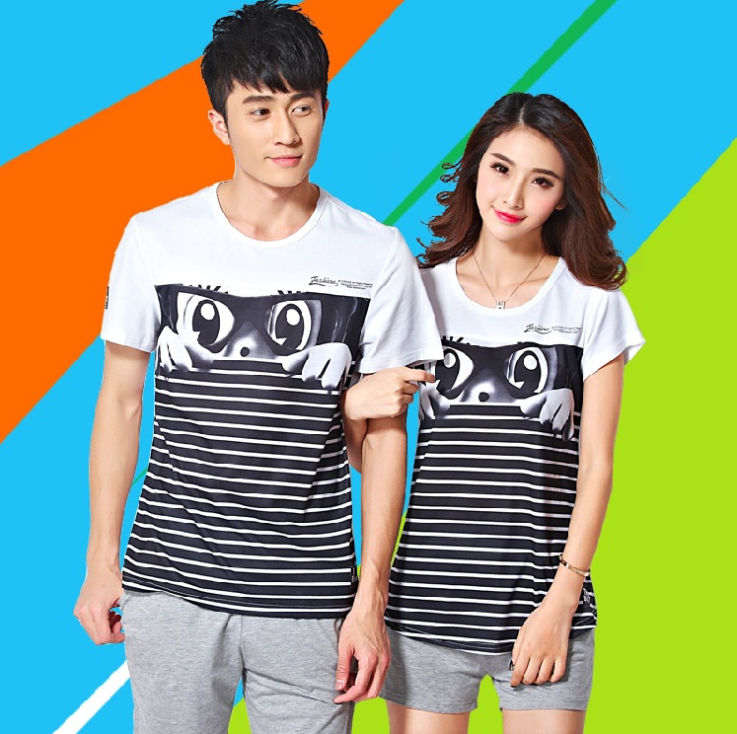 Korean version of the new summer lovers short-sleeved T-shirt Slim summer influx of men and women su