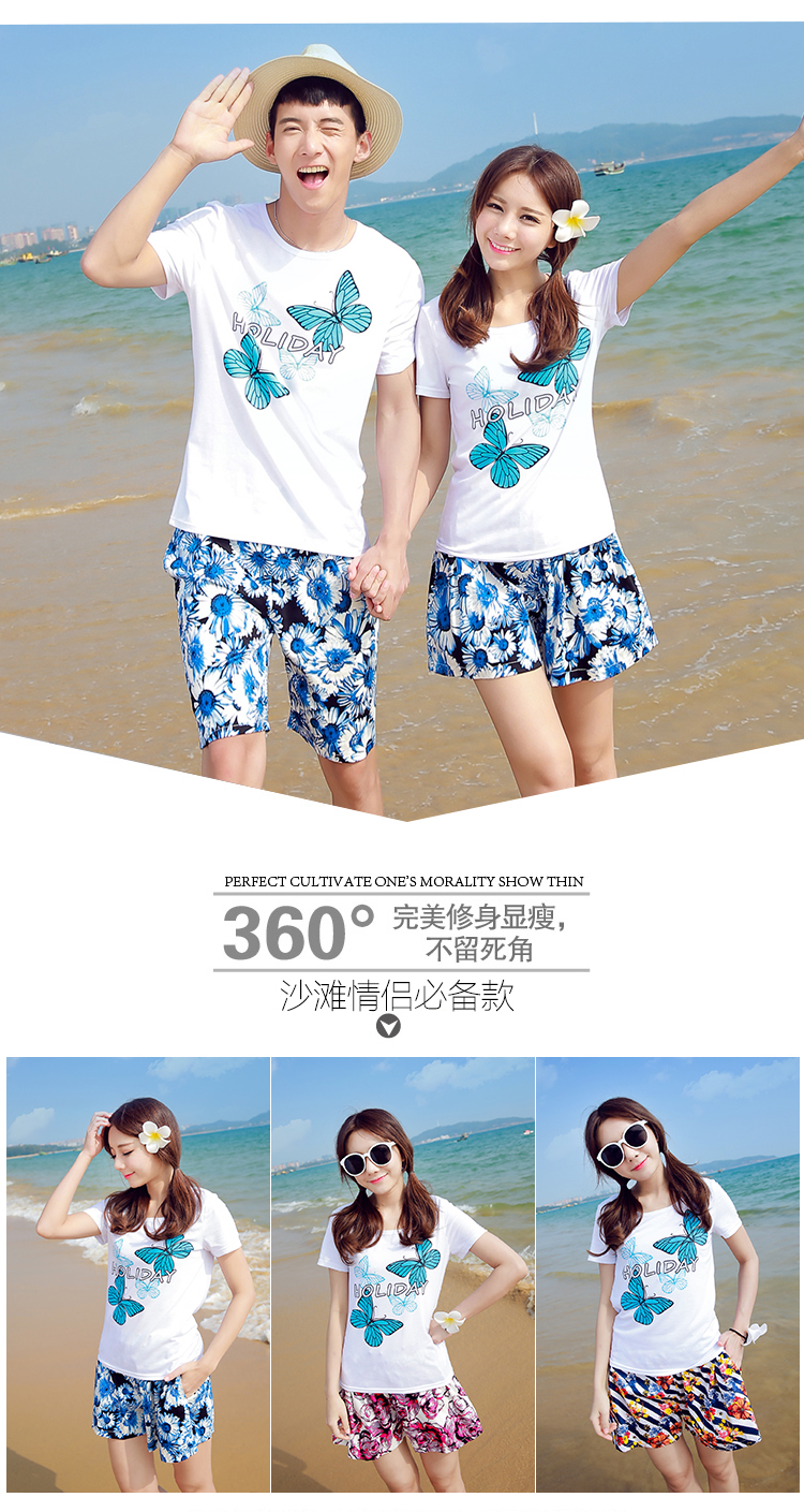 Honeymooners seaside resort beachwear summer 2016 men and women T shirt + shorts casual couples suit