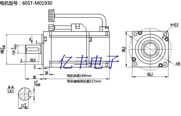 Mô-tơ Servo  60ST-M01930 AC servo motor drive 1.91N.M 600W +