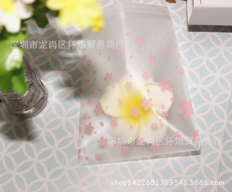 Túi opp Shelf Baking bags pink flowers food frosted plastic resealable bags creative opp bag 100