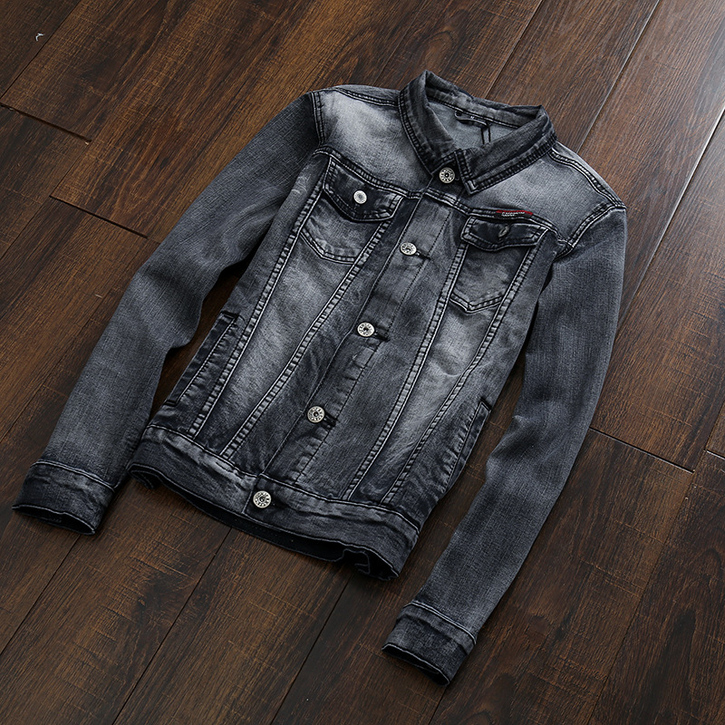 Autumn couple denim shirt Slim Mens denim jacket Korean version of the influx of men's black and gr