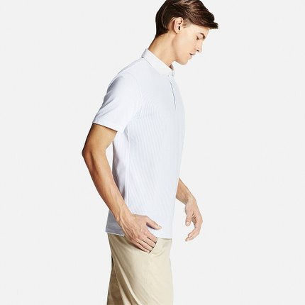 Áo sơ mi    Men's quick-drying shirt collar POLO shirt (short sleeve) (stripes) 169 361 UNIQLO UNIQ