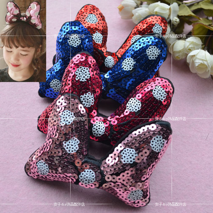 Vảy kim tuyến Sequin embroidery big Minnie three-dimensional bow hair bands hairpin material DIY han
