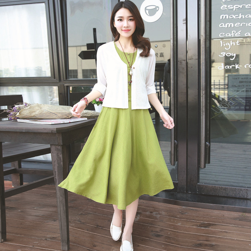 Summer new solid round neck two-piece dress was thin cotton sleeve big skirt factory direct wholesal