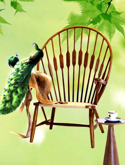 Ghế gỗ kiểu dáng đuôi công phong cách sáng tạo
