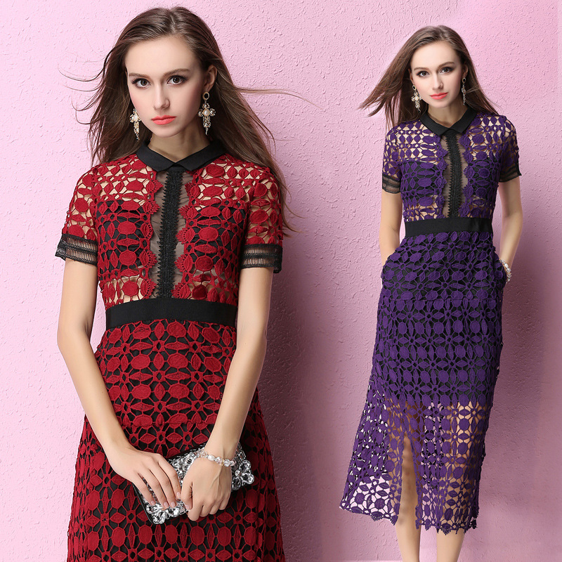 Đầm   2016 Summer Slim splicing hollow sexy lace dress soluble skirts female fashion tide