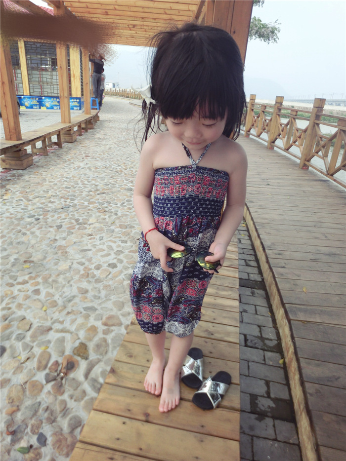 Quần   Korean children's clothing female baby Ethnic wear two-piece pants Floral pants flying squi