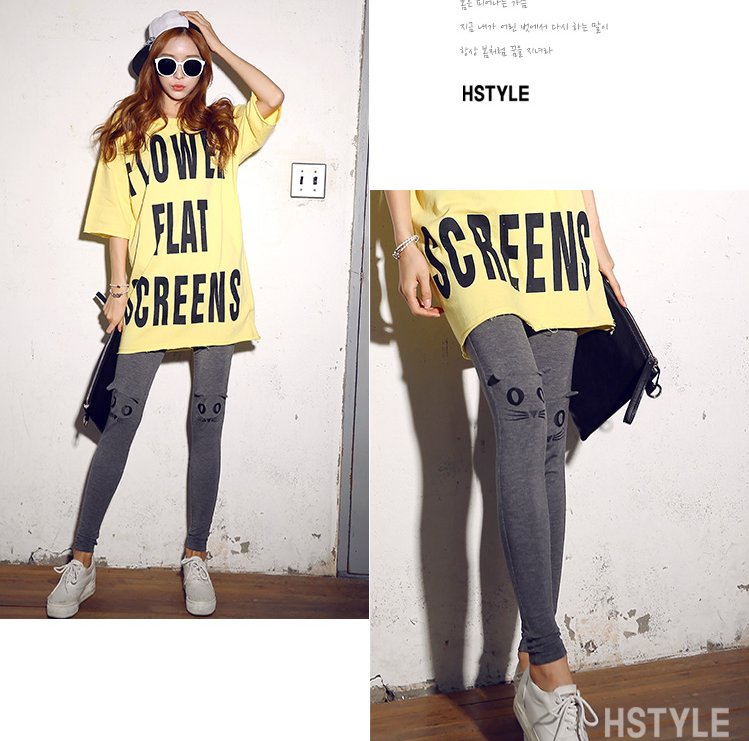 Korean homes have clothes Korean version of the new spring 2016 women's printing Slim elastic pants