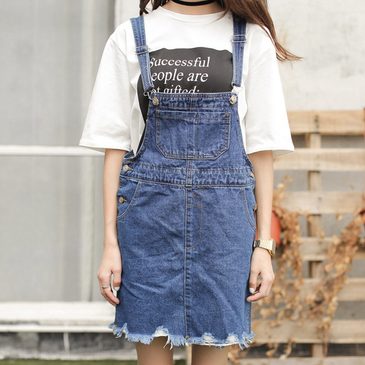 Đầm   Denim strap dress women 2016 summer new thin wild loose denim strap dress skirt Korean