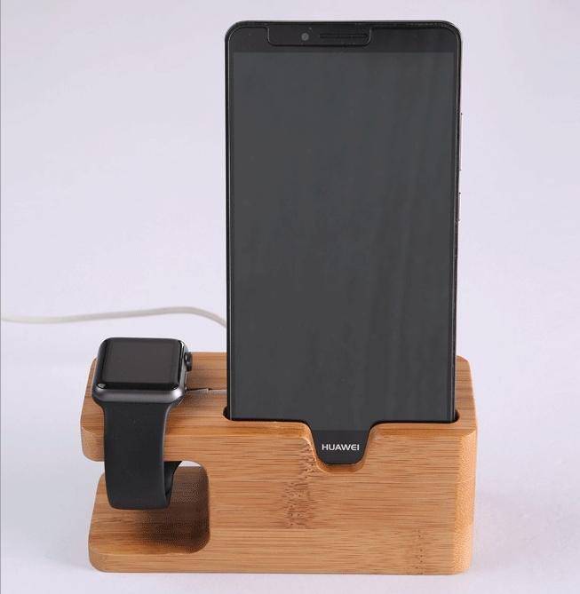 phụ kiện chống lưng điện thoại  apple watch, iPhone charging base Apple Watch phone combo bamboo sh