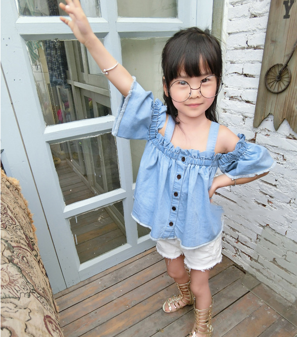 Quần   Kids girls summer 2016 new Korean female baby children jeans pants children denim shorts hol
