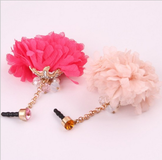 a510 phone dust plug drill flowers crystal tassels lovely sea star IPHONE4s phone dust plug