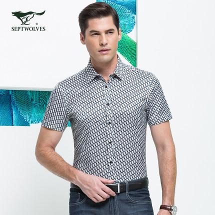 Septwolves men's short-sleeved shirt summer fashion silk print shirt Men genuine 5084742