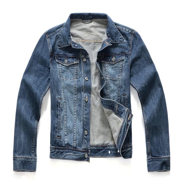 HM new denim clothing denim jacket M dark blue denim jacket Slim tide male cotton shorts Jackets