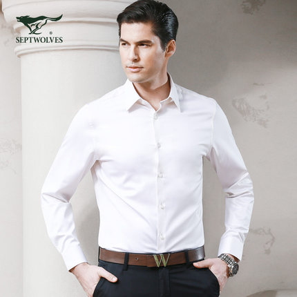 [100] yarn seven Wolf Totem Wolf Men's solid color long-sleeved business shirt new spring 5081001