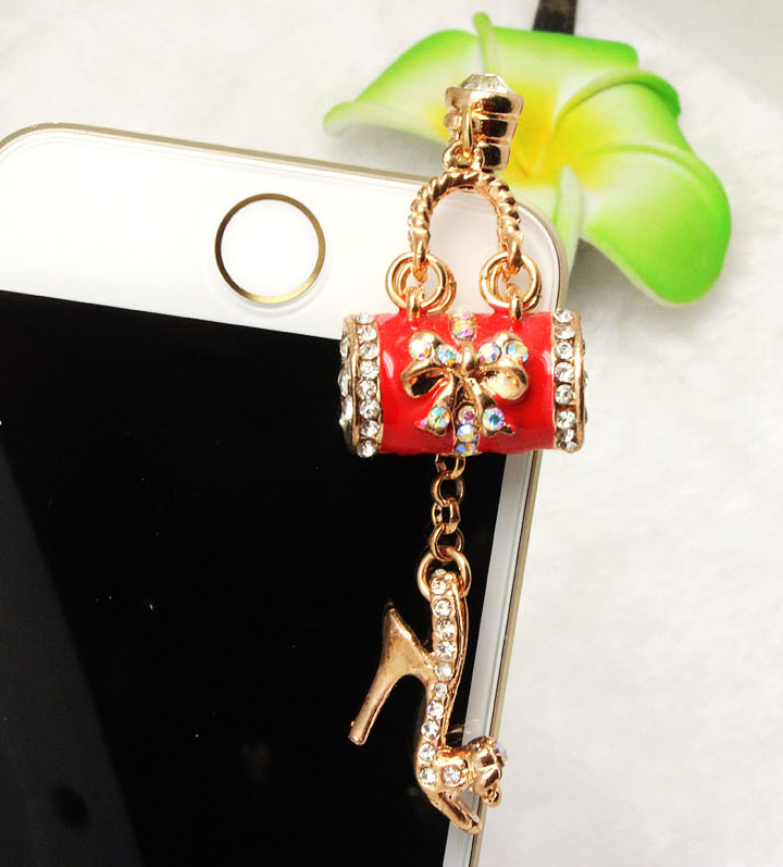 Korea new multi-element high heels bag phone diamond dust plug phone pendant wholesale manufacturers