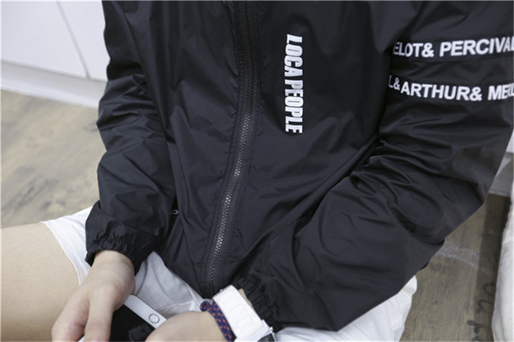 Japanese men's casual long-sleeved UV sunscreen thin section zipper letters comfortable outdoor sun