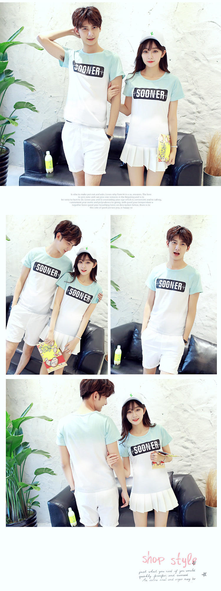 2016 new lovers summer suit Korean yards printed short-sleeved t-shirt shirt tide male and female st