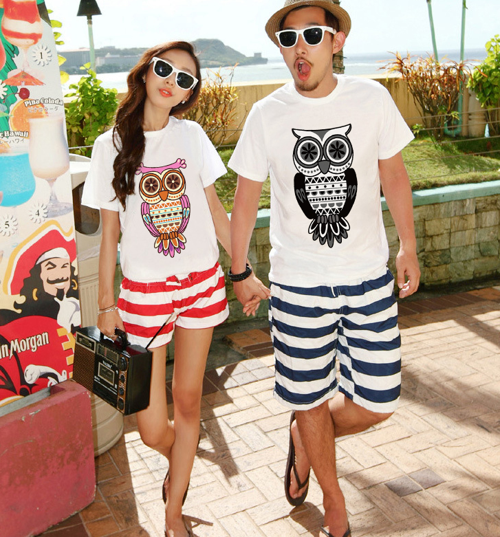 Áo thun -4 # Beach lovers summer leisure suit Korean Fan big yards short sleeve T-shirt men and wome