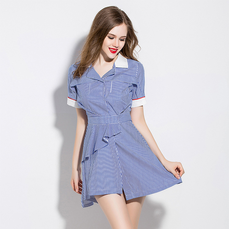 Đầm  Europe station 2016 summer new high-end women's fashion striped collar shirt factory wholesal