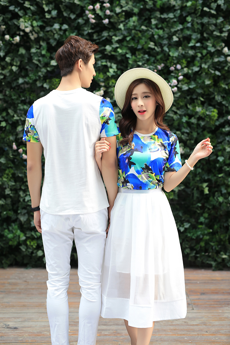 Áo thun    2016 models summer lovers short-sleeved T-shirt female Korean dress suit
