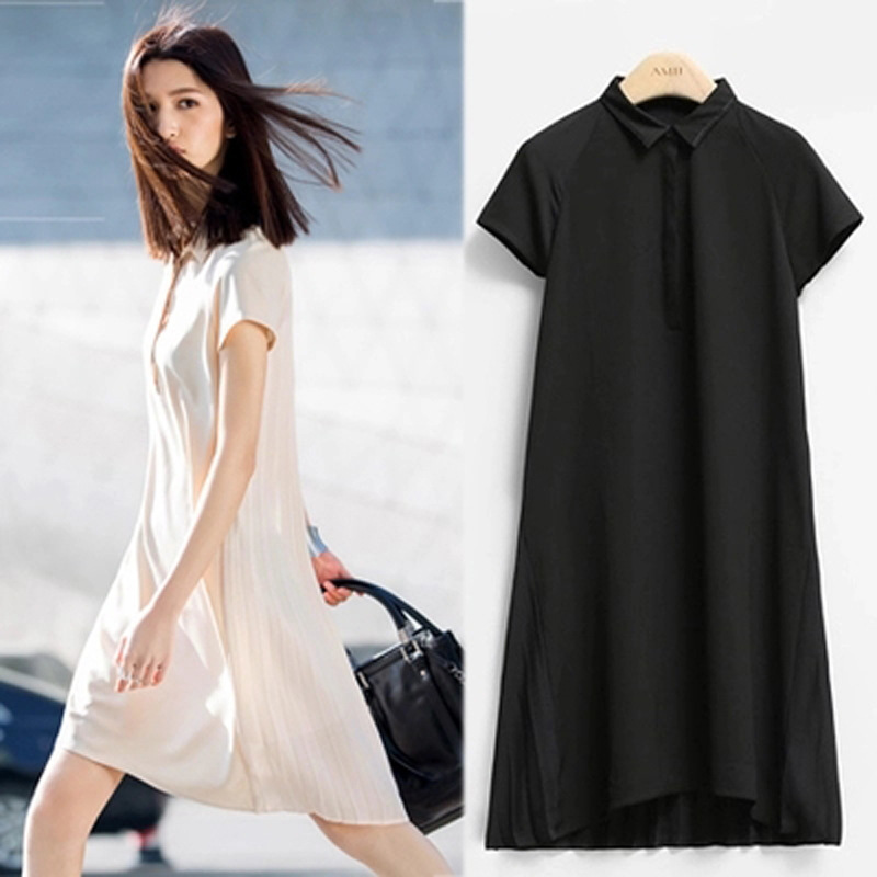 Europe and large size women fat mm2016 summer new fashion solid color loose short-sleeved pleated dr
