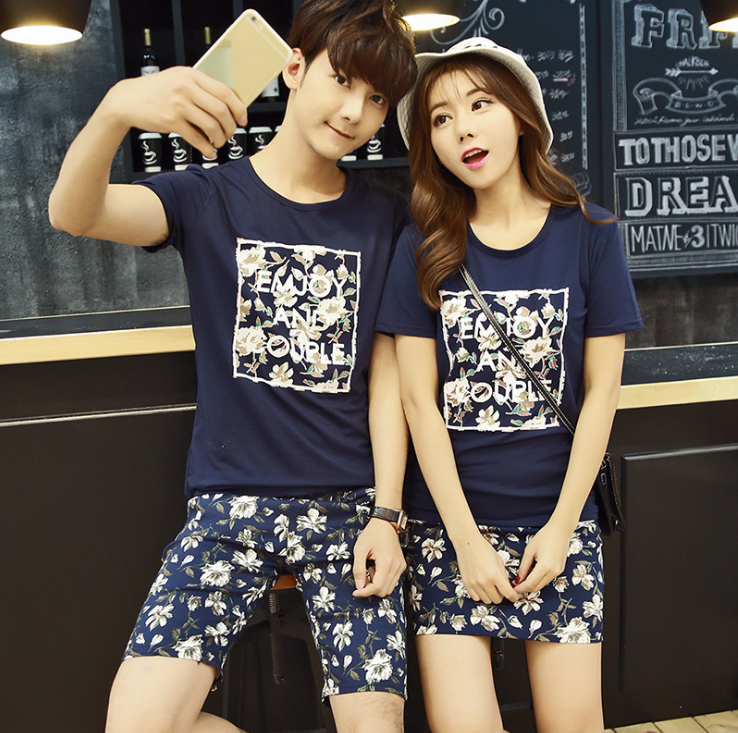 Tide brand new summer trend of men and women couples suite T-shirt + Bottoms young students classes